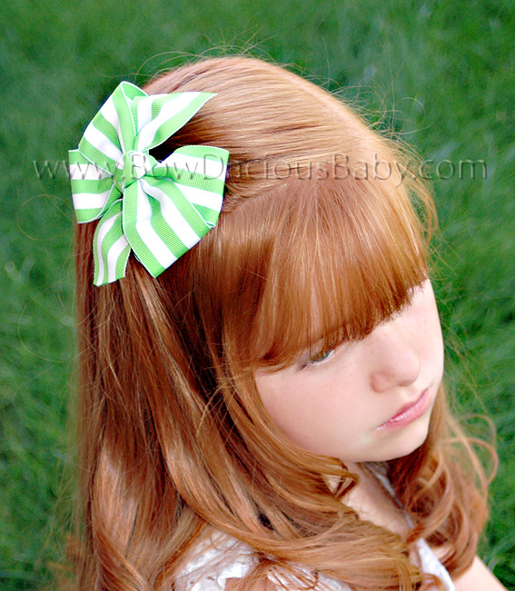Traditional Stripe Boutique Hair Bows Knot Center, Color Choices
